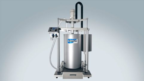 Barrel emptying system in hygienic design for cosmetics